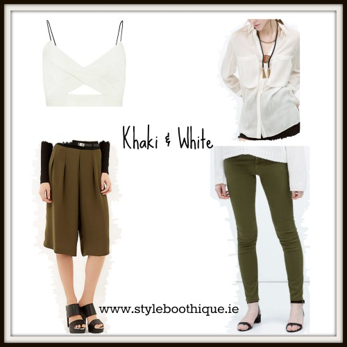 khaki & white